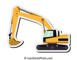 industrial backhoe icon - flat design industrial backhoe...