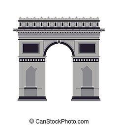 arc de triomphe icon - flat design arc de triomphe icon...