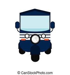 rickshaw or tuk tuk frontview icon - flat design blue...