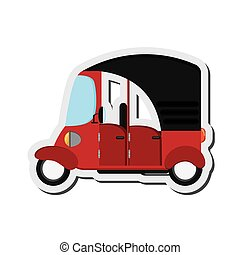 rickshaw or tuk tuk sideview icon - flat design rickshaw or...