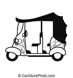 rickshaw or tuk tuk sideview icon - flat design rickshaw or...