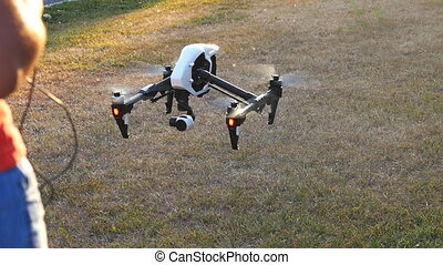 Drone lands at sunset - Drone lands at autumn sunset