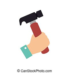 hammer hand tool construction icon vector graphic - hammer...