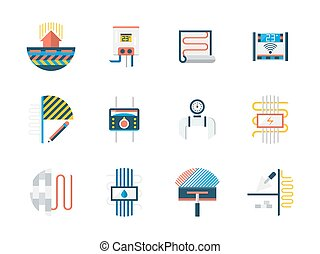 Set of floor heating flat color vector icons - Home heating...