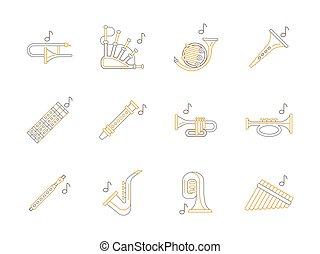 木管楽器, 音楽, 道具, 平ら, 線, ベクトル, アイコン