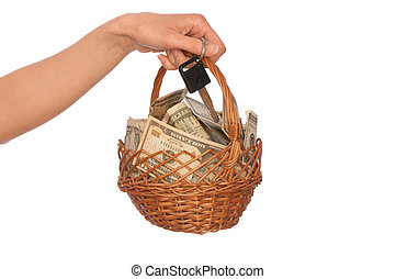 basket with money - businesswoman owns the basket with...