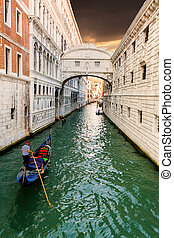 Bridge of Sighs and floating gondola Venice Italy - Bridge...