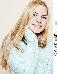 young pretty blond teenage girl close up portrait, lifestyle...