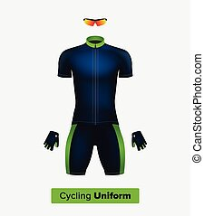 Realistic vector cycling uniform template Blue and green...