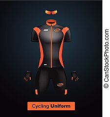 Realistic vector cycling uniform template Black and orange...