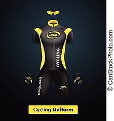 Realistic vector cycling uniform template Black and yellow...