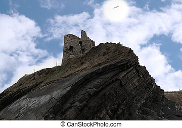 castle ruin on a high cliff