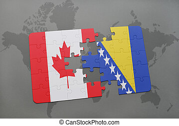 puzzle with the national flag of canada and bosnia and...