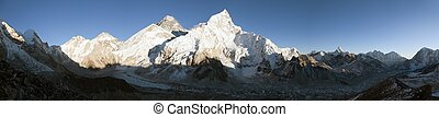 Evening panoramic view of Mount Everest from Kala Patthar -...