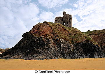 old castle ruin on a high cliff