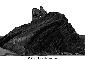 old castle ruin on a rocky cliff