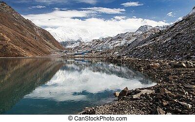 View of mount Cho Oyu mirroring in Gokyo lake or Dudh...
