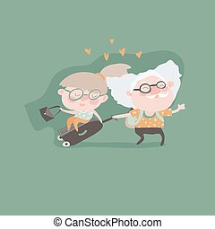 Travel in old age vector concept. Flat design. Elderly...