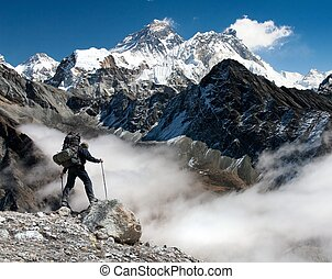 Everest from Gokyo with tourist - View of Everest from Gokyo...