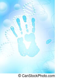 hand print over science background with DNA theme