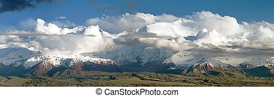Panoramic view of Lenin Peak - Pamir Mountains - Panoramic...