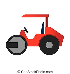 steamroller truck construction icon vector graphic -...