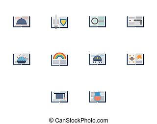 Reading books flat color vector icons - Collection of open...
