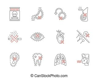 Set of smoking harmful flat line vector icons
