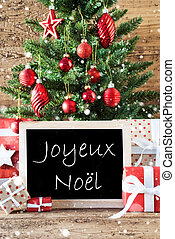 Colorful Tree With Snowflakes, Joyeux Noel Means Merry...