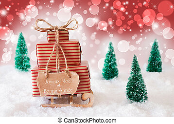 Christmas Sleigh On Red Background, Bonne Annee Means New...