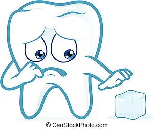 Sensitive tooth scared of a ice - Clipart picture of a...