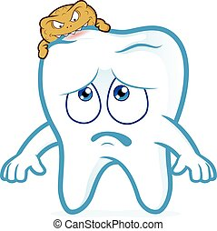 Tooth attacked by germs of caries - Clipart picture of a...