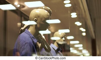 Sale, consumerism concept, man in suit at shopping window at...