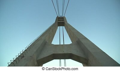 Cable Stay Bridge Wishbone and blue sky - Walking under...