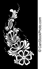 beautiful monochrome black and white flowers and leaves...