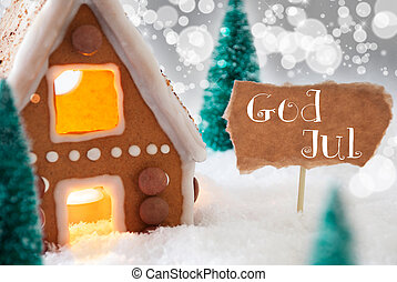 Gingerbread House, Silver Background, God Jul Means Merry...
