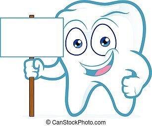 Tooth holding blank wood sign - Clipart picture of a tooth...