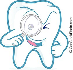 Tooth holding magnifying glass - Clipart picture of a tooth...