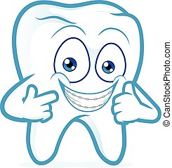 Tooth with braces on teeth - Clipart picture of a tooth...