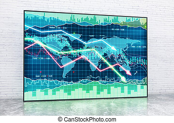 Interior with forex chart - Forex chart in interior with...