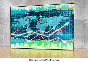 Forex chart in interior with concrete wall and wooden floor....