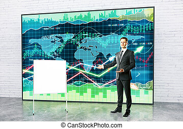 Man giving business presentation - Handsome young fund...