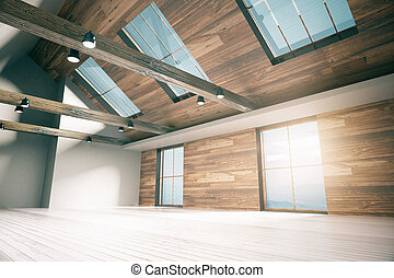 Country interior side - Side view of loft interior design...