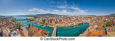 Zurich city center panorama with river Limmat from...