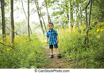 child in the forest having fun - A child in the forest...