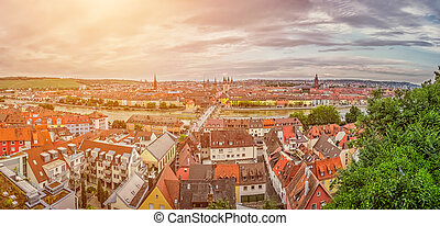 Historic city of Wurzburg, Franconia, Bavaria, Germany -...