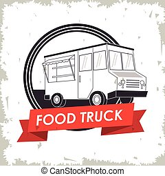 truck fast food icon. Vector graphic - silhouette truck fast...