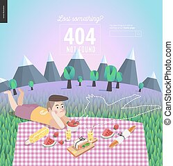Picnic template with light blue sky