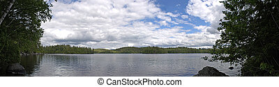 Lower Saranac Lake Panorama - A wide angle panoramic view of...