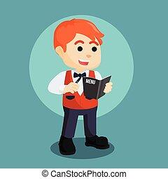 waiter accepts order illustration design